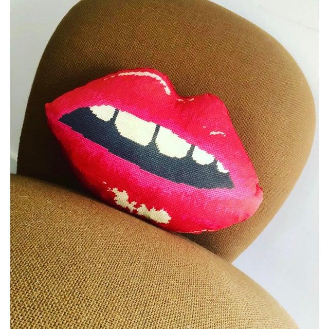 """Modern """"Embrasse Moi"""" Red Velvet Hot Lips Pillow For Sale - Image 4 of 12"""