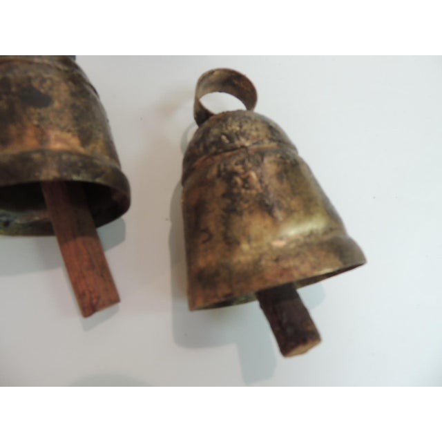 1980s Vintage Metal Indian Cow Bells With Wooden Chimes For Sale - Image 5 of 6