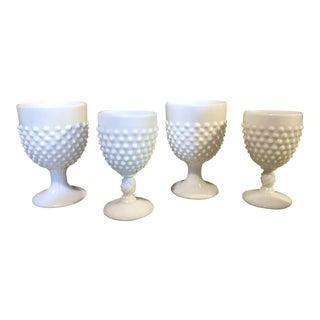 Hobnail Milk Glass Goblets - Set of 4 For Sale