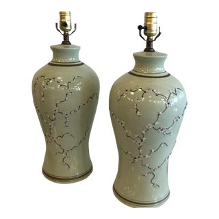 Vintage Green Chinoiserie Table Lamps - A Pair