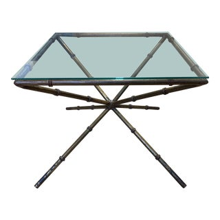 Regency Style Faux Bamboo Metal + Glass Side Table For Sale