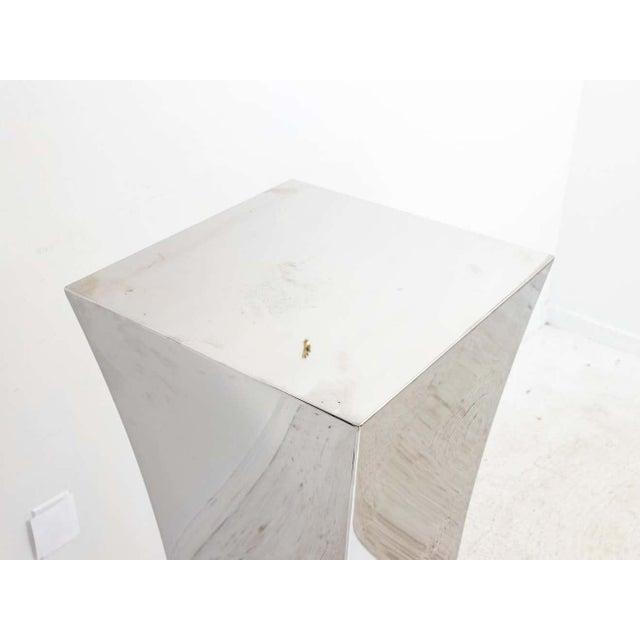 Silver Polished Nickel Concave Pedestal For Sale - Image 8 of 11