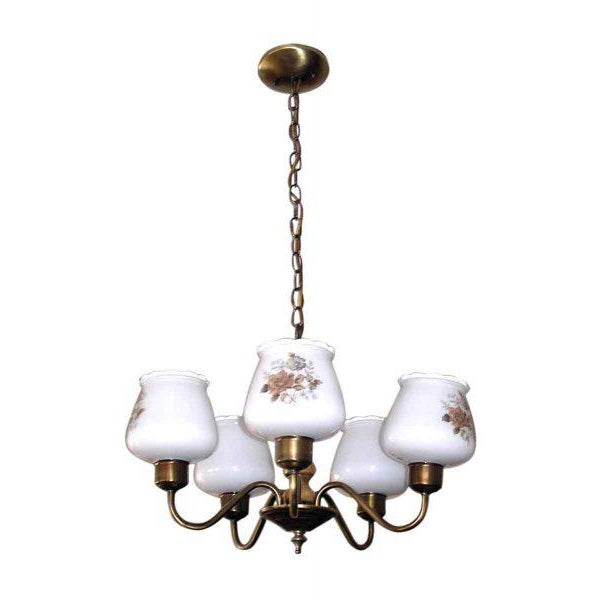 White Floral Glass Shades Chandelier For Sale - Image 8 of 8