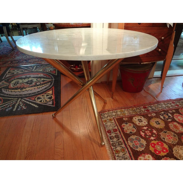 Italian Gio Ponti Inspired Brass and Marble Table - Image 8 of 8