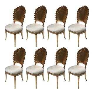 Gold Leaf Venetian Grotto Style Shell Dining Chairs For Sale