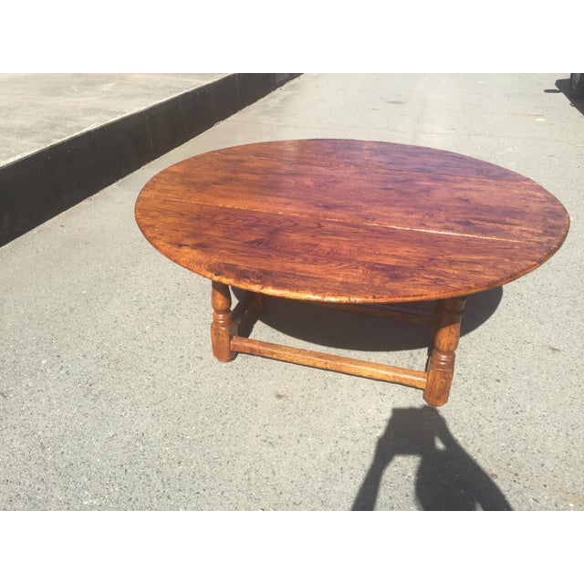 Wood Rustic Oak Drop Leaf Dining Table For Sale - Image 7 of 11
