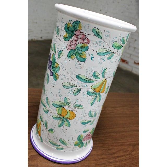 Vintage Italian Castelli Pottery Umbrella Stand Signed L. Pardi For Sale - Image 10 of 11