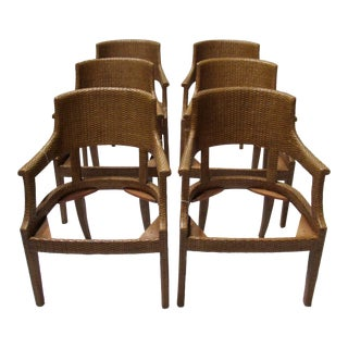 """C.1998 David Sutherland """"Melina"""" Klismos-Style Woven Wicker Rattan Over Teak Dining Arm Chairs - Set of 6 For Sale"""