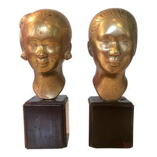 Brass Vietnamese Female Busts - a Pair