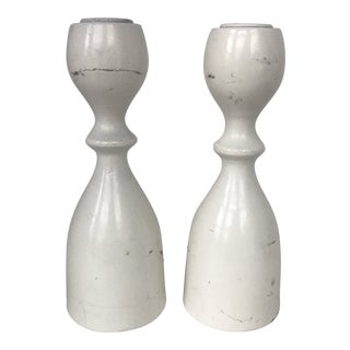 Mid Century Modern White Candle Holders- A Pair For Sale