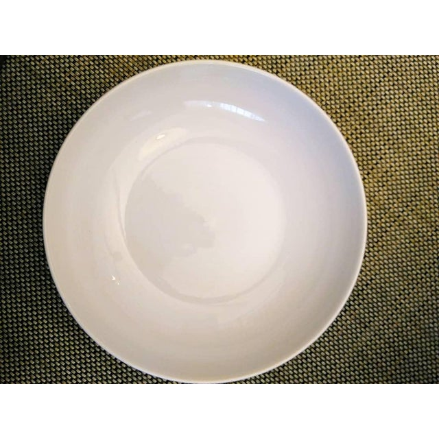 White Extra Large Glazed Ceramic Glossy White Shallow Serving Bowl For Sale - Image 8 of 8
