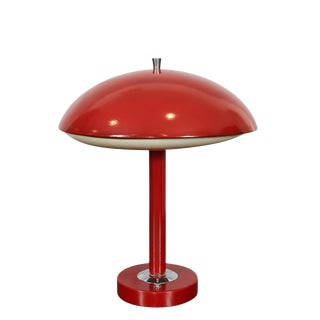 Red Mid-Century Table Lamp For Sale
