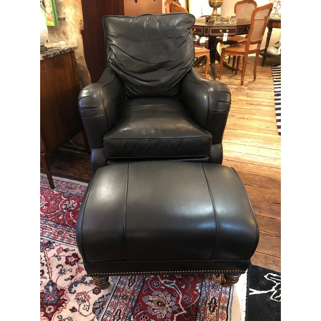 Dark Charcoal Leather Club Chair & Ottoman For Sale - Image 9 of 9