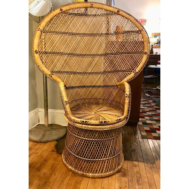 Mid Century Modern Wicker Peacock Chair For Sale In Boston - Image 6 of 6