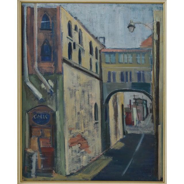 Midcentury Vintage European Village Street Oil Painting For Sale In Los Angeles - Image 6 of 10