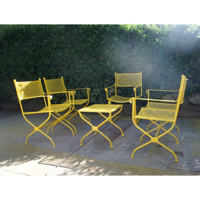 Campaign Vintage Mid Century Buttercup Yellow French Directoire Style Wrought Iron Patio Set- 5 Pieces For Sale - Image 3 of 13