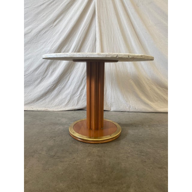 Round Stone Top Italian Pedestal Dining Game Table - Mid Century For Sale - Image 9 of 10