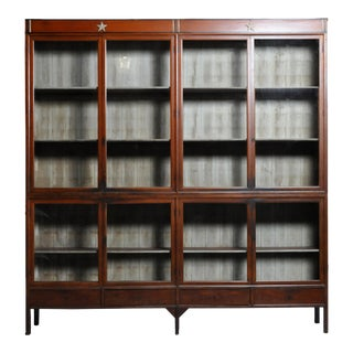 1920s British Colonial Teak Wood Bookcase For Sale