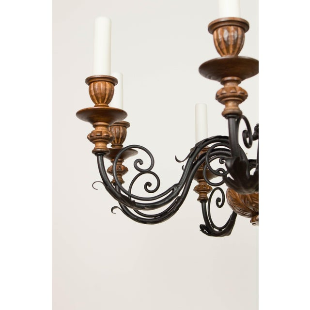 Iron & Wood Eight Arm Chandelier For Sale - Image 5 of 9