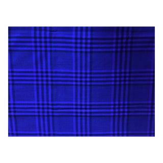 Vintage Wool Upholstery Purple Black Plaid Fabric - 4 Yards For Sale