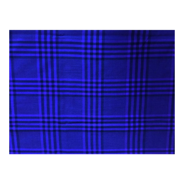 Vintage Wool Upholstery Purple Black Plaid Fabric 4 Yards Chairish