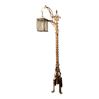 Antique Reclaimed Iron Lantern With Scroll Decoration For Sale