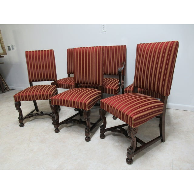 Empire Antique Berkey Gay French Empire Walnut Dining Room Arm Chairs - Set of 6 For Sale - Image 3 of 12