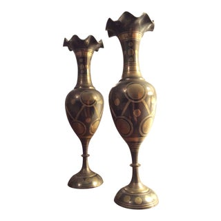 Vintage Brass Vases From India - a Pair For Sale