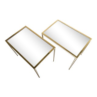 Pair of 1960s Brass Side Tables With Mirror Glass Tops by Vereinigte Werkstätten For Sale