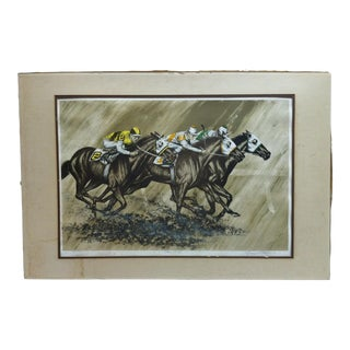 """20th Century Realist Matted Limited Edition Signed Numbered Print, """"Three to Go"""" by George H. Mayer For Sale"""