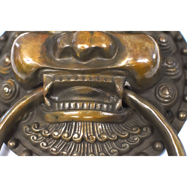 Late 20th Century Vintage Dragon King Motif Brass Door Knockers- a Pair For Sale In Los Angeles - Image 6 of 13