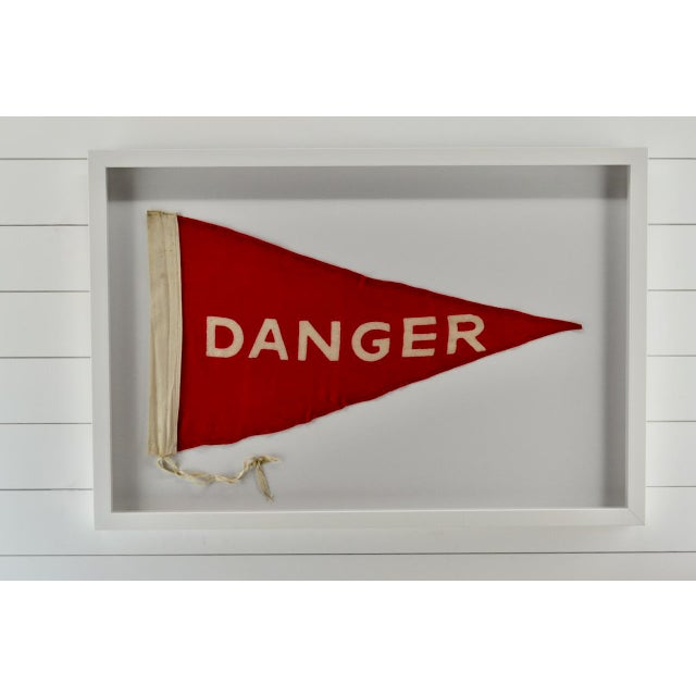 Vintage rare wool Danger flag pennant. A very rare find. Professionally framed in our all wood shadow box frame with...