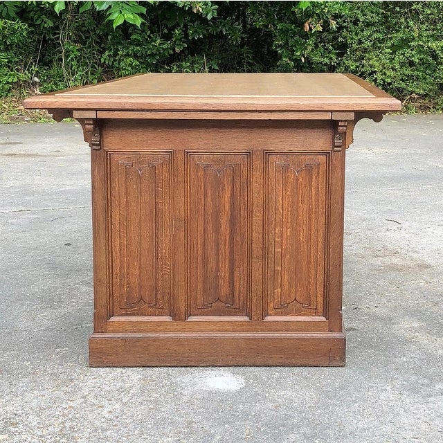 19th Century Gothic Oak Executive Desk For Sale - Image 9 of 13