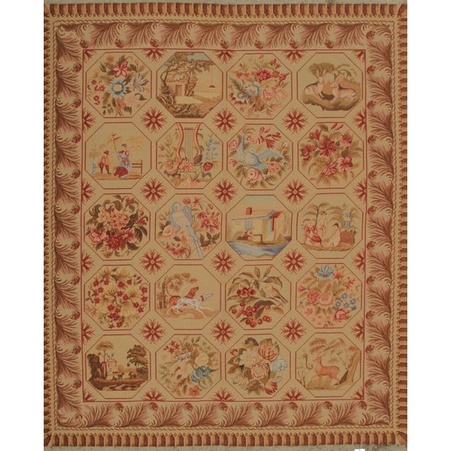Mid 20th Century Vintage Mid-Century Hand-Knotted Needlepoint Rug - 5′10″ × 6′11″ For Sale - Image 5 of 5