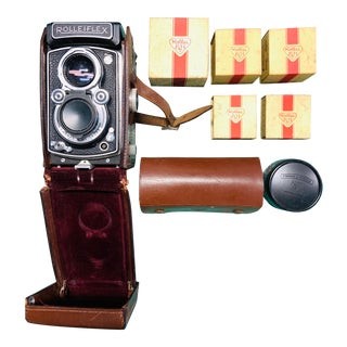 Vintage Rolleifex 3.5 Tlr With Original Leather Case and Accessories For Sale