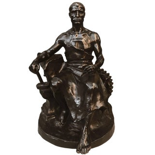 """Early 20th Century Antique Hans Müller """"The Blacksmith"""" Bronze Sculpture For Sale"""