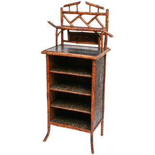 Elaborate 19th Century Bamboo Music Cabinet/Bookcase For Sale