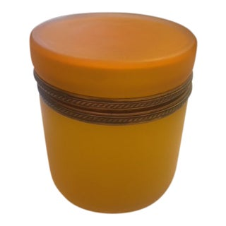 1950s Vintage Citrine Murano Glass Box For Sale