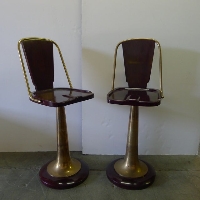 Swivel Yacht Style Bar Stools - a Pair For Sale - Image 4 of 11