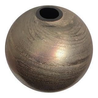 Large Vintage 1980s Metallic Iridescent Toned Textured Art Glass Vase For Sale