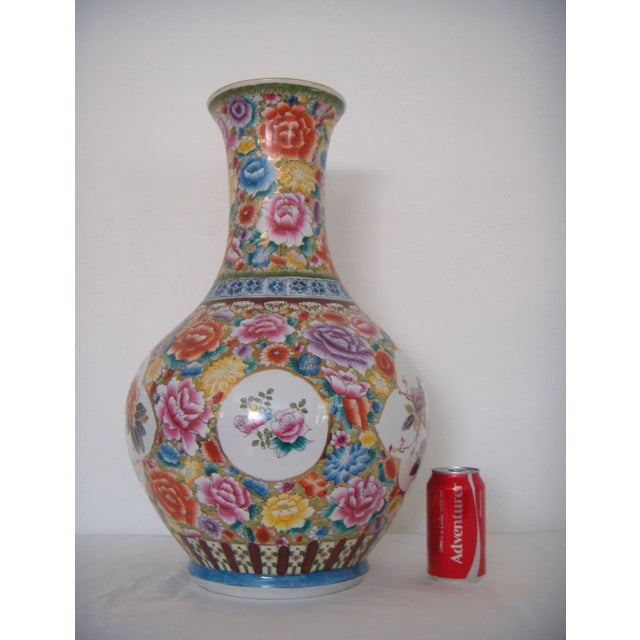 """Large Oriental Gold/Floral Hand Painted Vase H22"""" - Image 5 of 6"""
