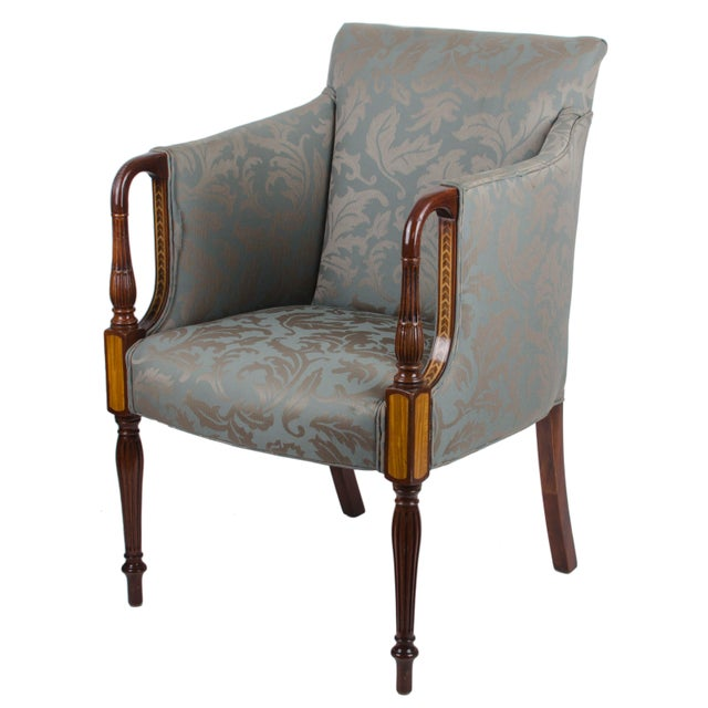 Offered is a pair of Southwood Furniture of Hickory, North Carolina Sheraton style club chairs. Beautiful inlaid mahogany...