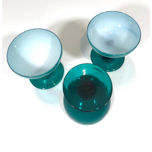 French Mid 20th Century Blue Opaline Champagne Coupe Glasses - Set of 3 For Sale - Image 3 of 8