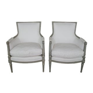 Louis XV Gray Wash Finish and White Matelasse Fabric Bergere Arm Chairs - a Pair For Sale