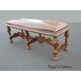 Vintage Theordore Alexander William's Window Leather Bench Preview