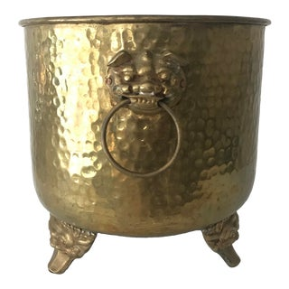 Hammered Brass Footed Planter With Ornate Hoop Handles For Sale