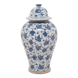 Blue and White Crane Ginger Jar For Sale