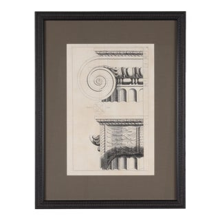 19th C. Framed Antique Architectural Etching Ionic Capital For Sale