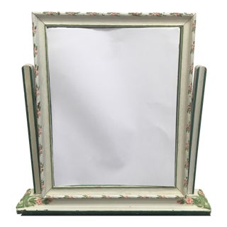 Vintage Painted and Carved Tabletop Swing Mirror For Sale