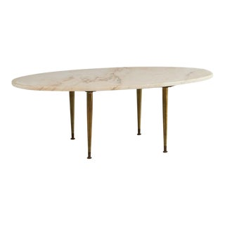 Vintage Oval Pink Marble Coffee Table For Sale